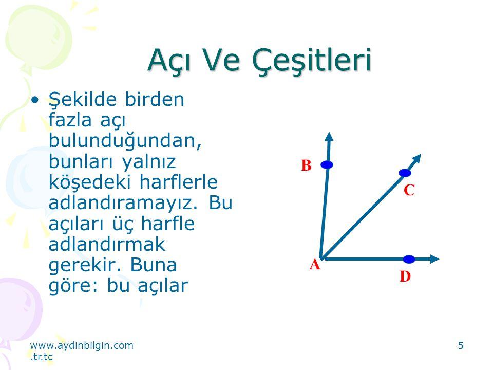 www.aydinbilgin.com.tr.tc 5 Açı Ve Çeşitleri Şekilde birden fazla açı bulunduğundan, bunları yalnız köşedeki harflerle adlandıramayız. Bu açıları üç h