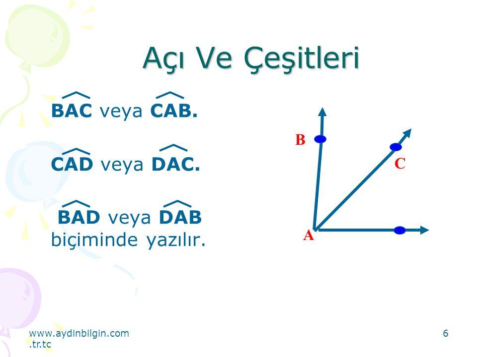 www.aydinbilgin.com.tr.tc 17 Dik, Dar, Açıların Çizimi AOB = 90 0 Dik açı O B A Dar açı D A F E ADF>EDF 90 0 > 90 0