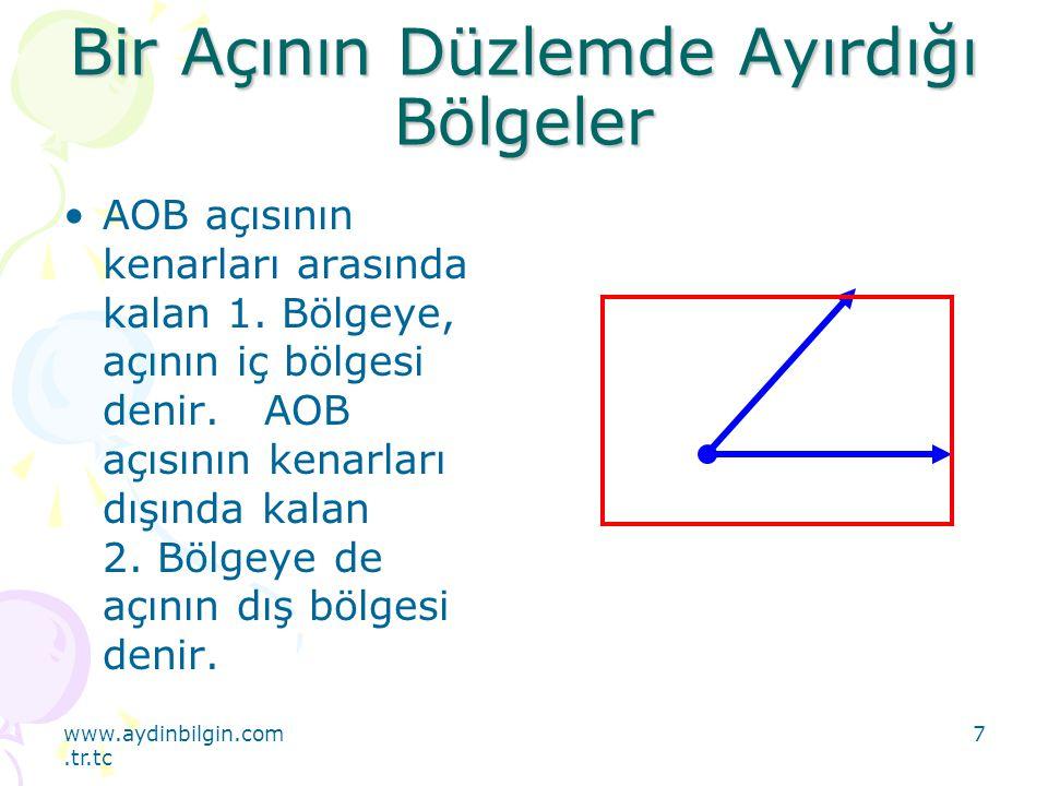 www.aydinbilgin.com.tr.tc 8 Bir Açının Düzlemde Ayırdığı Bölgeler Buna göre, bir açı bulunduğu düzlemi üç kümeye ayırır: Açının iç bölgesi Açının kendisi Açının dış bölgesi