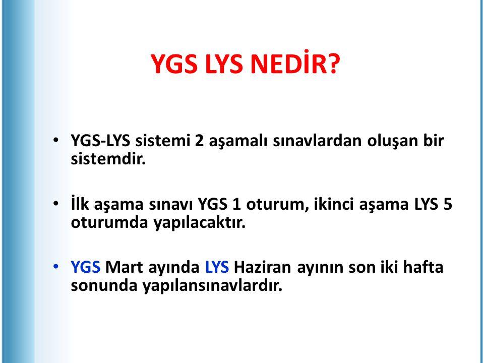 YGS-LYS sistemi 2 aşamalı sınavlardan oluşan bir sistemdir. İlk aşama sınavı YGS 1 oturum, ikinci aşama LYS 5 oturumda yapılacaktır. YGS Mart ayında L