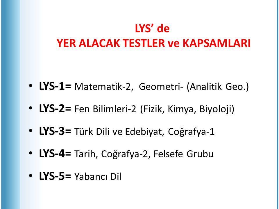 LYS' de YER ALACAK TESTLER ve KAPSAMLARI LYS-1= Matematik-2, Geometri- (Analitik Geo.) LYS-2= Fen Bilimleri-2 (Fizik, Kimya, Biyoloji) LYS-3= Türk Dil