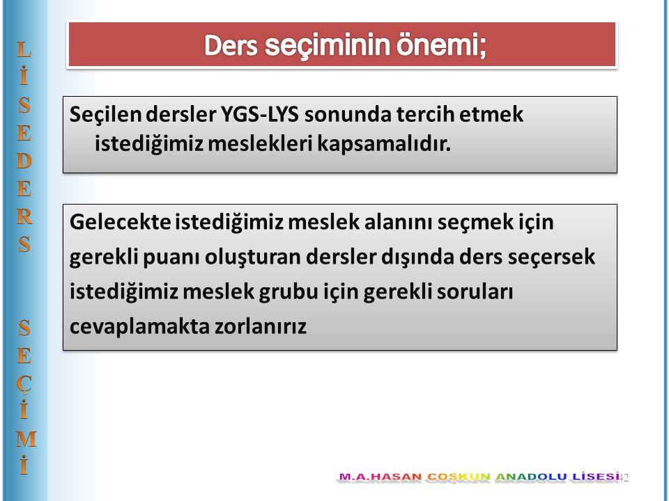 Seçilen dersler YGS-LYS sonunda tercih etmek istediğimiz meslekleri kapsamalıdır. 42 Gelecekte istediğimiz meslek alanını seçmek için gerekli puanı ol