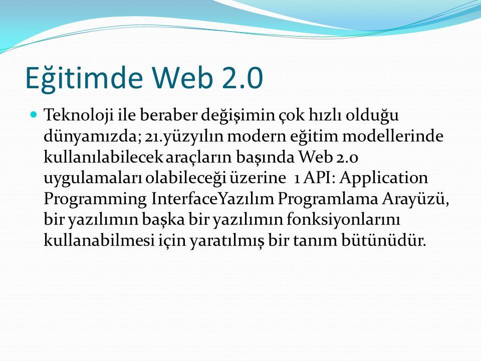 Eğitimde Web 2.0 Teknoloji ile beraber değişimin çok hızlı olduğu dünyamızda; 21.yüzyılın modern eğitim modellerinde kullanılabilecek araçların başında Web 2.0 uygulamaları olabileceği üzerine 1 API: Application Programming InterfaceYazılım Programlama Arayüzü, bir yazılımın başka bir yazılımın fonksiyonlarını kullanabilmesi için yaratılmış bir tanım bütünüdür.