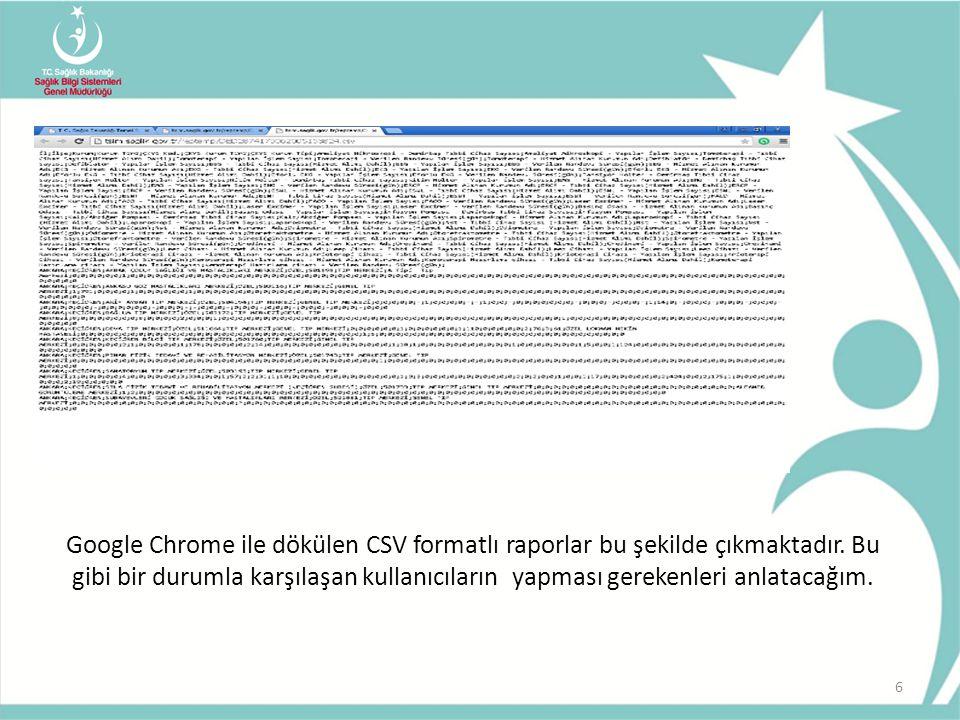 6 Google Chrome ile dökülen CSV formatlı raporlar bu şekilde çıkmaktadır.