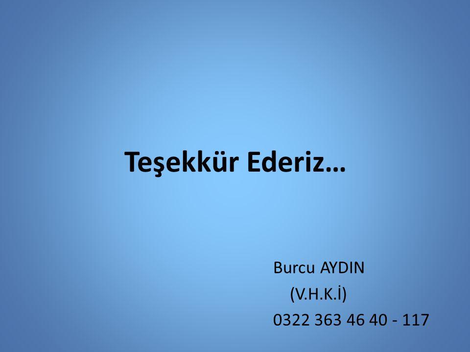 Teşekkür Ederiz… Burcu AYDIN (V.H.K.İ) 0322 363 46 40 - 117
