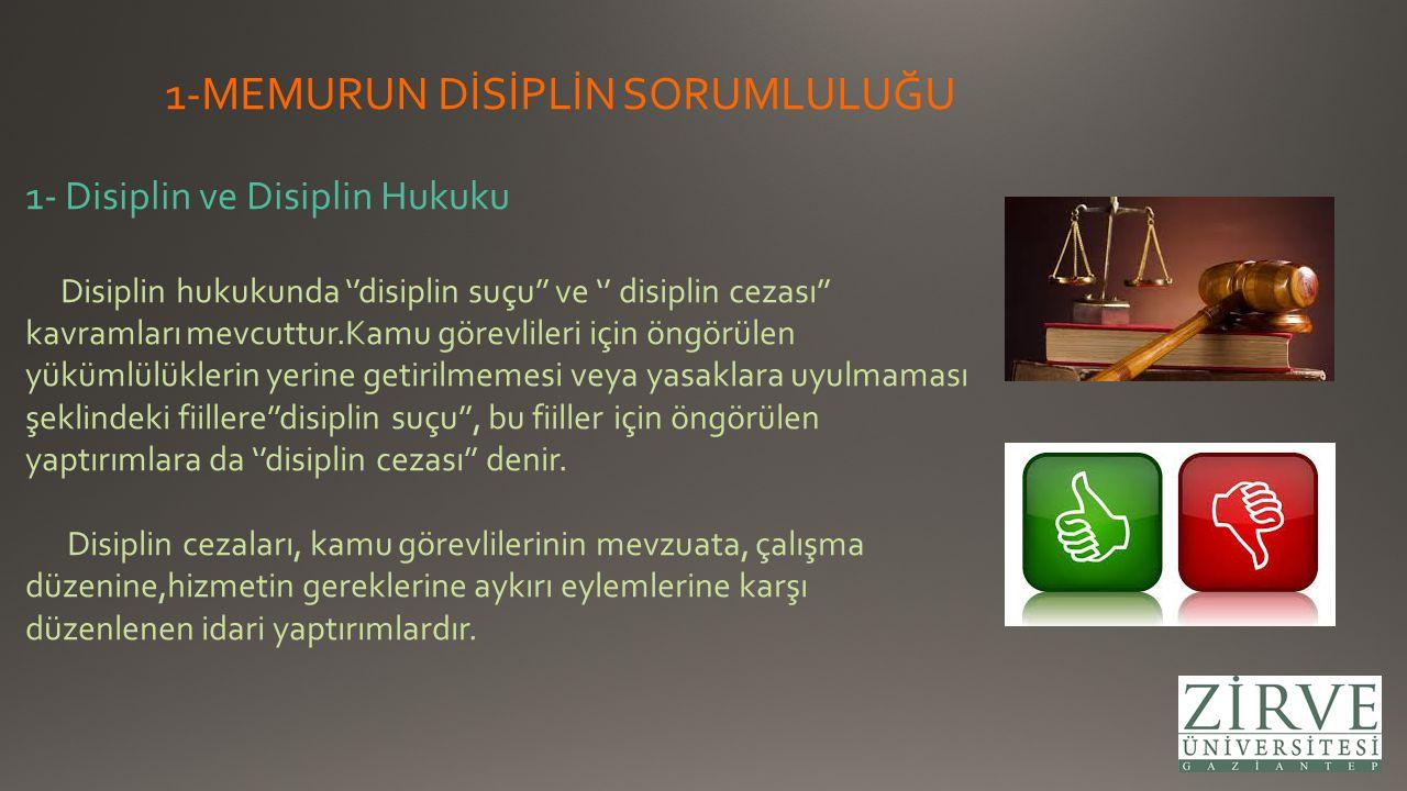 1-MEMURUN DİSİPLİN SORUMLULUĞU 1- Disiplin ve Disiplin Hukuku Disiplin hukukunda ''disiplin suçu'' ve '' disiplin cezası'' kavramları mevcuttur.Kamu g