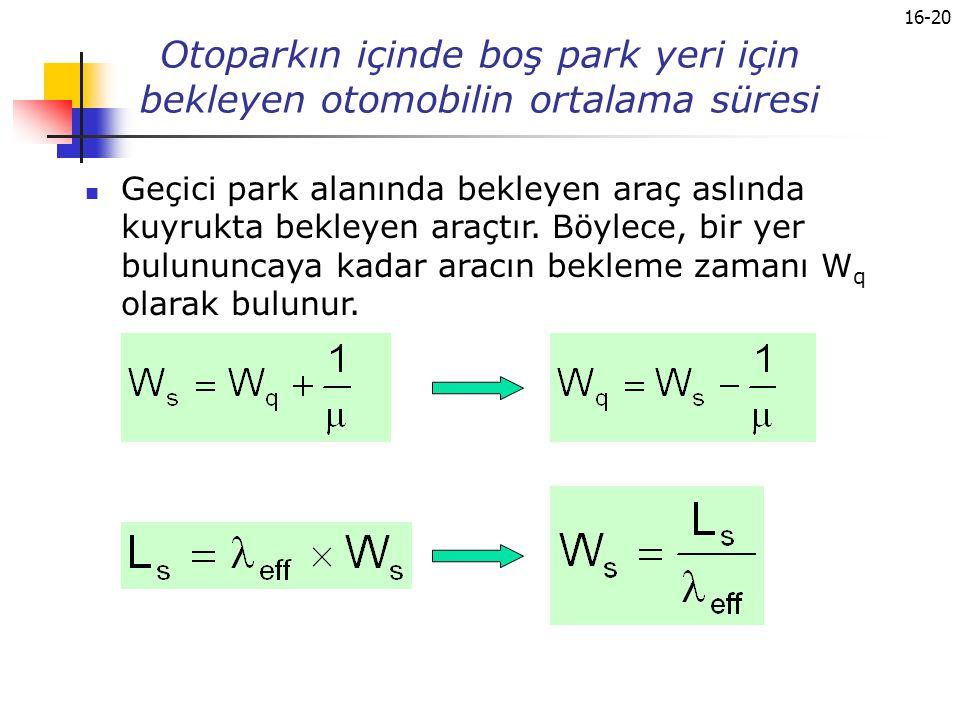 16-20 Otoparkın içinde boş park yeri için bekleyen otomobilin ortalama süresi Geçici park alanında bekleyen araç aslında kuyrukta bekleyen araçtır. Bö