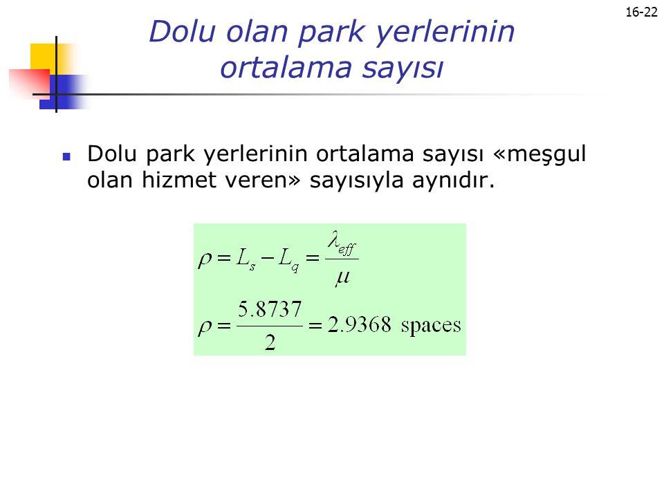16-22 Dolu olan park yerlerinin ortalama sayısı Dolu park yerlerinin ortalama sayısı «meşgul olan hizmet veren» sayısıyla aynıdır.