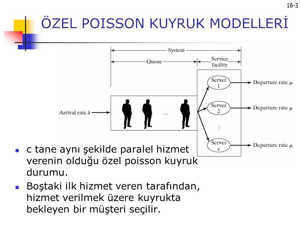16-3 ÖZEL POISSON KUYRUK MODELLERİ c tane aynı şekilde paralel hizmet verenin olduğu özel poisson kuyruk durumu. Boştaki ilk hizmet veren tarafından,
