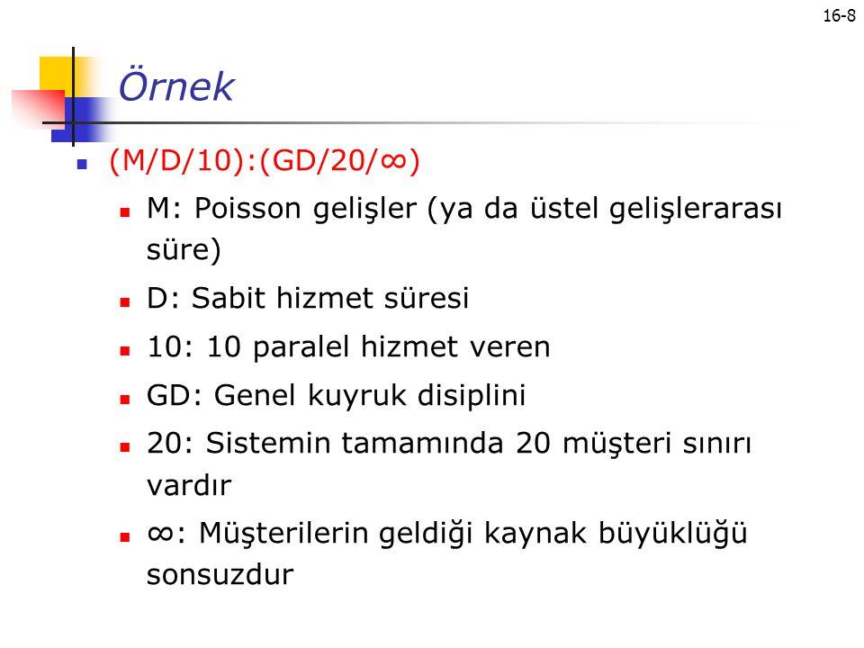 16-8 Örnek (M/D/10):(GD/20/∞) M: Poisson gelişler (ya da üstel gelişlerarası süre) D: Sabit hizmet süresi 10: 10 paralel hizmet veren GD: Genel kuyruk