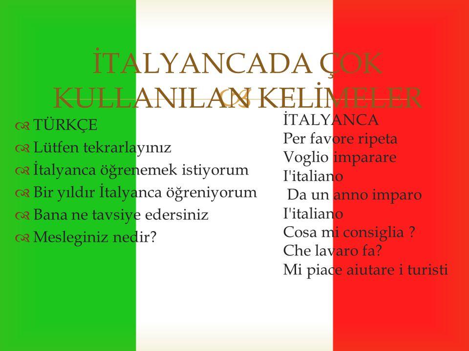  İTALYANCADA ÇOK KULLANILAN KELİMELER  TÜRKÇE  Lütfen tekrarlayınız  İtalyanca öğrenemek istiyorum  Bir yıldır İtalyanca öğreniyorum  Bana ne tavsiye edersiniz  Mesleginiz nedir.