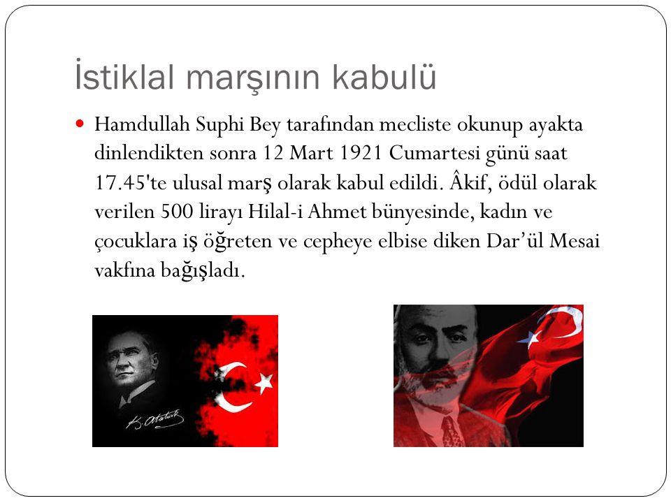 İstiklal marşının kabulü Hamdullah Suphi Bey tarafından mecliste okunup ayakta dinlendikten sonra 12 Mart 1921 Cumartesi günü saat 17.45'te ulusal mar