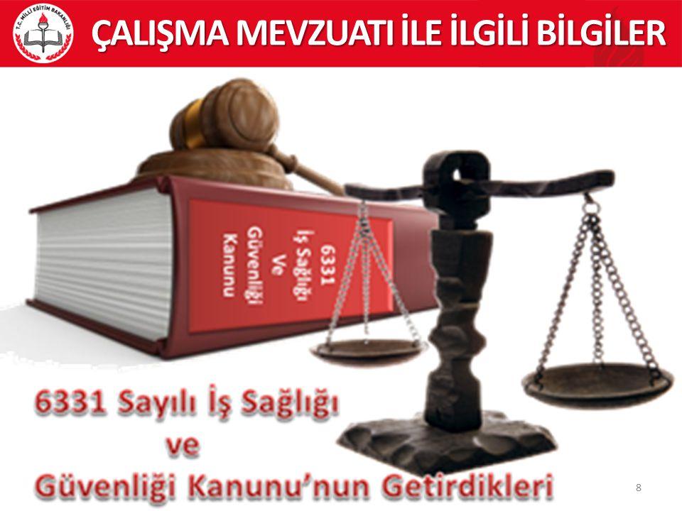 39 Milli Eğitim Bakanlığı 2014/16 Sayılı Genelge ÇALIŞMA MEVZUATI İLE İLGİLİ BİLGİLER Bilindiği gibi; 6331 sayılı İş Sağlığı ye Güvenliği Kanunu 30.06.2012 tarih ve 28339 sayılı Resmi Gazete de yayınlanarak yürürlüğe girmiştir.