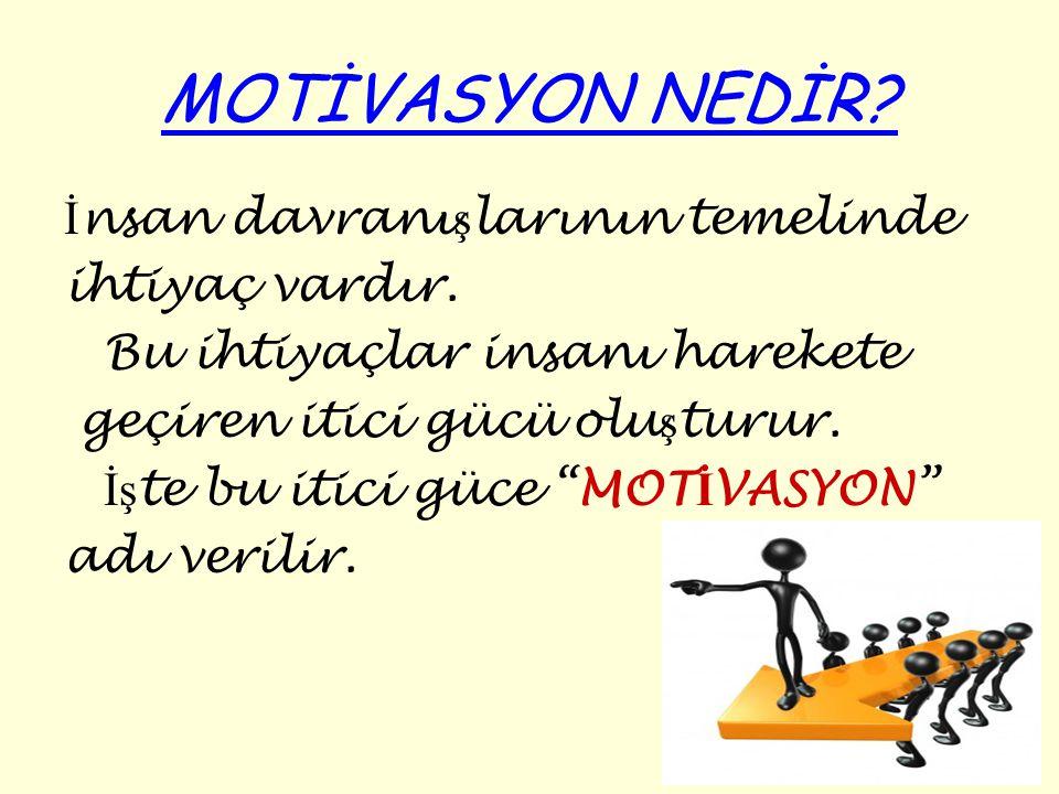 MOTiVASYON ENGELLERİ Motivasyonu sağlayabilmek için öncelikle motivasyonun önündeki engellerin kaldırılması gerekir.
