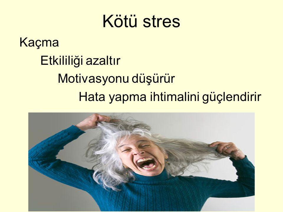 Kötü stres Kaçma Etkililiği azaltır Motivasyonu düşürür Hata yapma ihtimalini güçlendirir