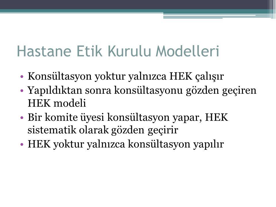 Hastane Etik Kurulu Modelleri Konsültasyon yoktur yalnızca HEK çalışır Yapıldıktan sonra konsültasyonu gözden geçiren HEK modeli Bir komite üyesi kons