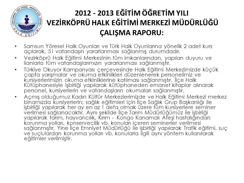 2012 - 2013 EĞİTİM ÖĞRETİM YILI VEZİRKÖPRÜ HALK EĞİTİMİ MERKEZİ MÜDÜRLÜĞÜ ÇALIŞMA RAPORU: Samsun Yöresel Halk Oyunları ve Türk Halk Oyunlarına yönelik