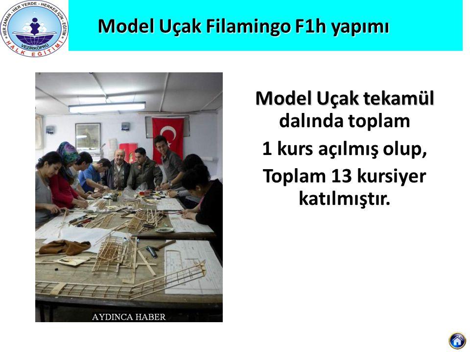 Model Uçak Filamingo F1h yapımı Model Uçak tekamül Model Uçak tekamül dalında toplam 1 kurs açılmış olup, Toplam 13 kursiyer katılmıştır.