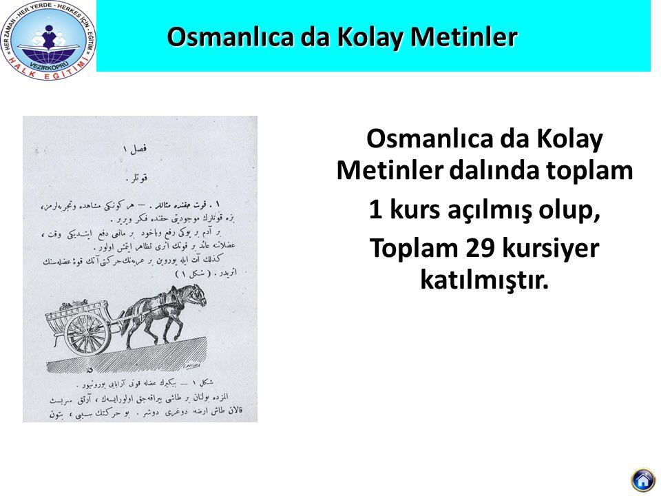 Osmanlıca da Kolay Metinler Osmanlıca da Kolay Metinler Osmanlıca da Kolay Metinler dalında toplam 1 kurs açılmış olup, Toplam 29 kursiyer katılmıştır