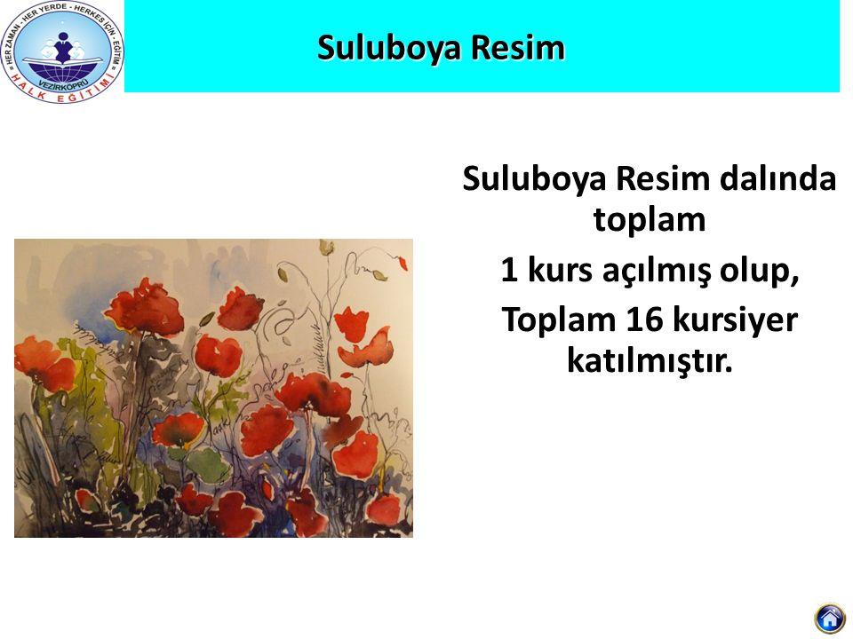 Suluboya Resim Suluboya Resim Suluboya Resim dalında toplam 1 kurs açılmış olup, Toplam 16 kursiyer katılmıştır.