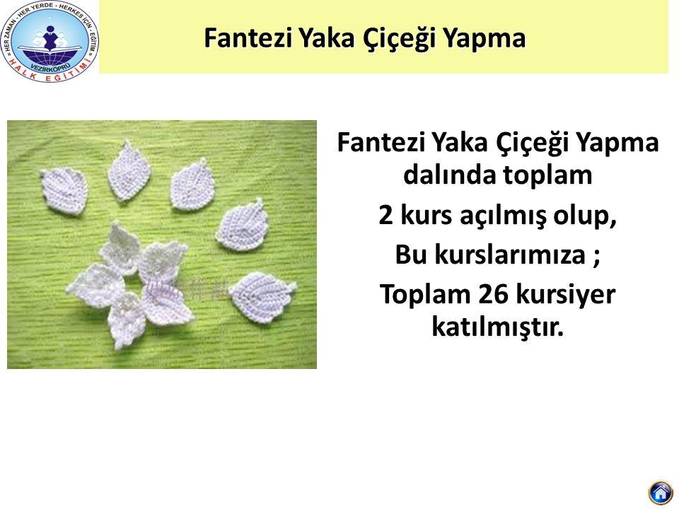 Fantezi Yaka Çiçeği Yapma Fantezi Yaka Çiçeği Yapma Fantezi Yaka Çiçeği Yapma dalında toplam 2 kurs açılmış olup, Bu kurslarımıza ; Toplam 26 kursiyer