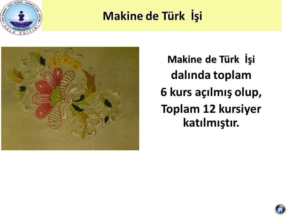 Makine de Türk İşi dalında toplam 6 kurs açılmış olup, Toplam 12 kursiyer katılmıştır.