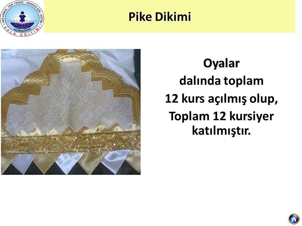 Pike Dikimi Oyalar dalında toplam 12 kurs açılmış olup, Toplam 12 kursiyer katılmıştır.