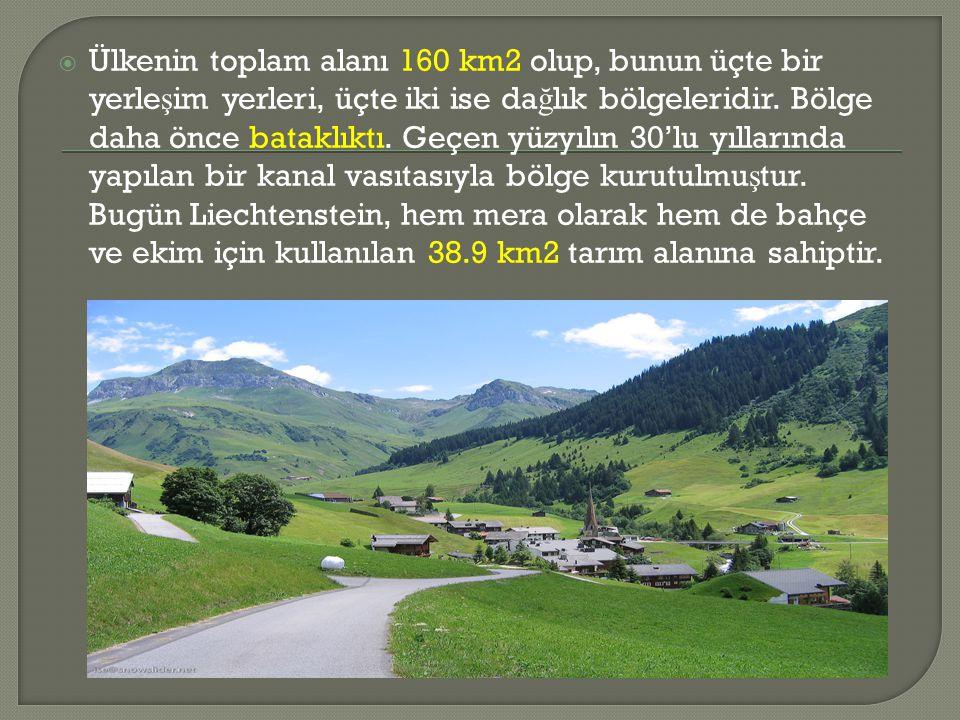  Ülkenin toplam alanı 160 km2 olup, bunun üçte bir yerle ş im yerleri, üçte iki ise da ğ lık bölgeleridir.