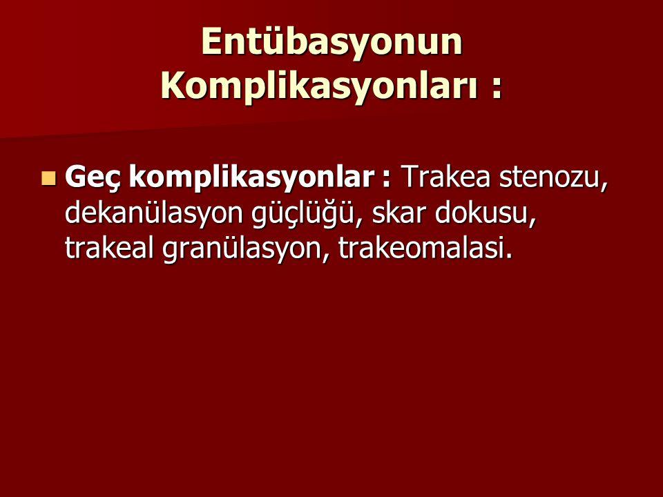 Entübasyonun Komplikasyonları : Geç komplikasyonlar : Trakea stenozu, dekanülasyon güçlüğü, skar dokusu, trakeal granülasyon, trakeomalasi. Geç kompli