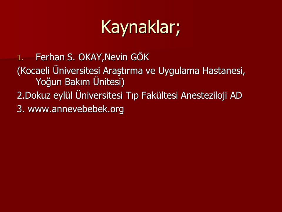 Kaynaklar; 1. Ferhan S. OKAY,Nevin GÖK (Kocaeli Üniversitesi Araştırma ve Uygulama Hastanesi, Yoğun Bakım Ünitesi) 2.Dokuz eylül Üniversitesi Tıp Fakü