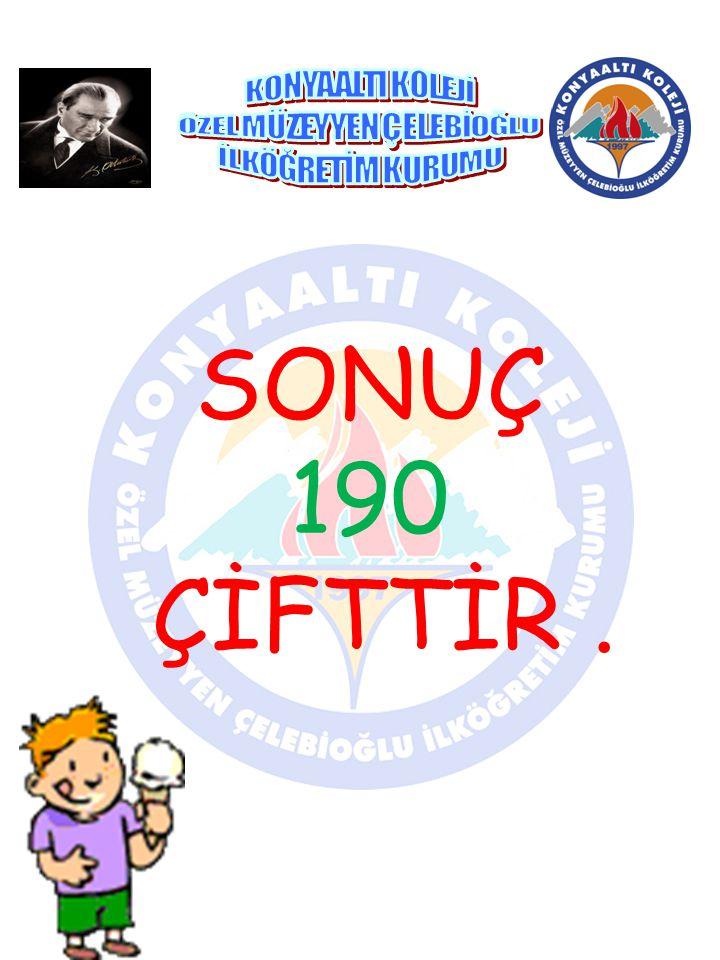 SONUÇ 190 ÇİFTTİR.