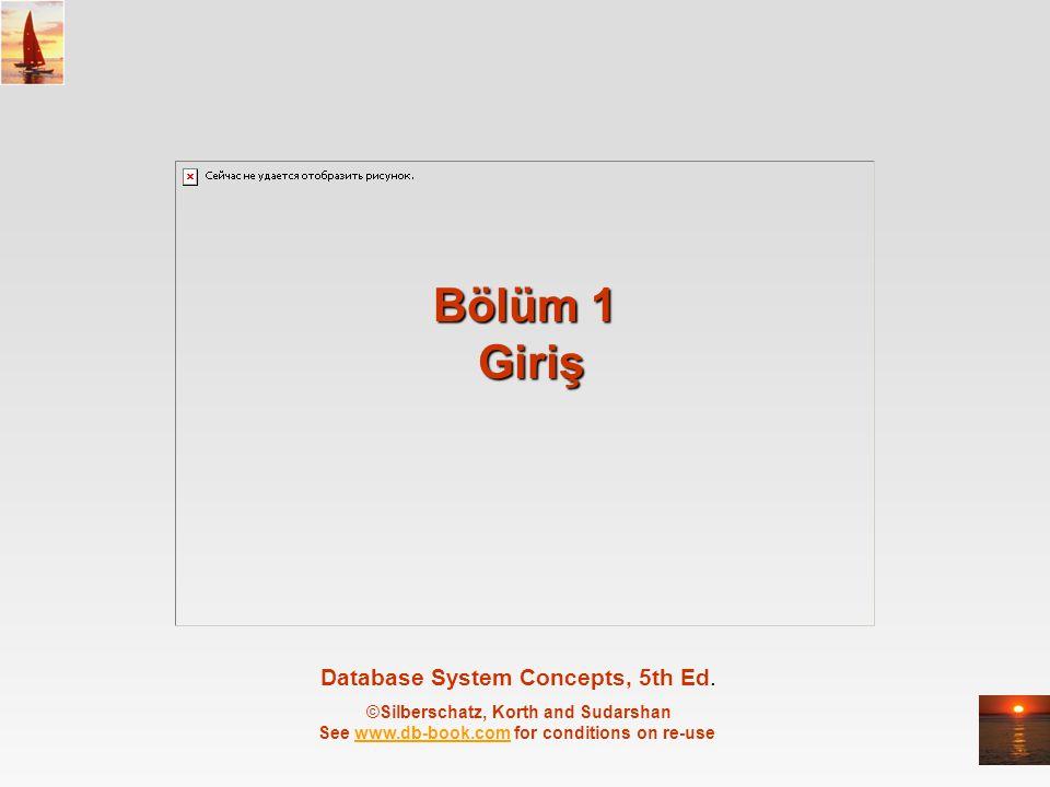©Silberschatz, Korth and Sudarshan1.2Database System Concepts - 5 th Edition, May 23, 2005 Bölüm 1: Giriş Veritabanı Sistemlerine Genel Bakış Görünümler (Views) Veritabanı Dilleri İlişkisel Veritabanları Veri Tabanı Tasarımı Veri Saklama ve Sorgulama Veritanabı Mimarileri Veritabanı Kullanıcıları ve Veritabanı Yöneticisi Genel Yapı