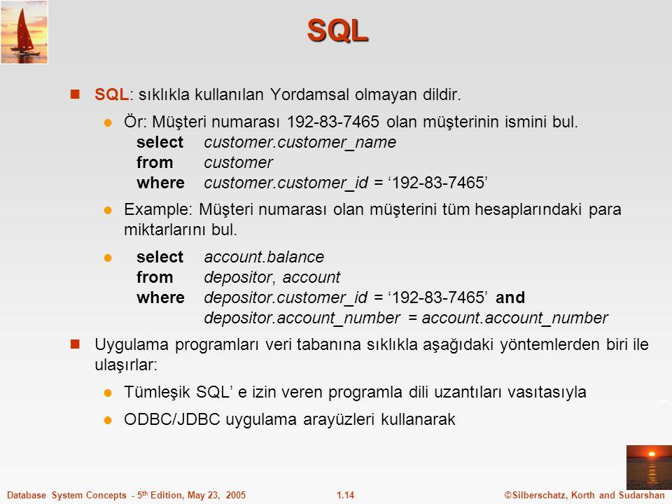 ©Silberschatz, Korth and Sudarshan1.14Database System Concepts - 5 th Edition, May 23, 2005 SQL SQL: sıklıkla kullanılan Yordamsal olmayan dildir. Ör: