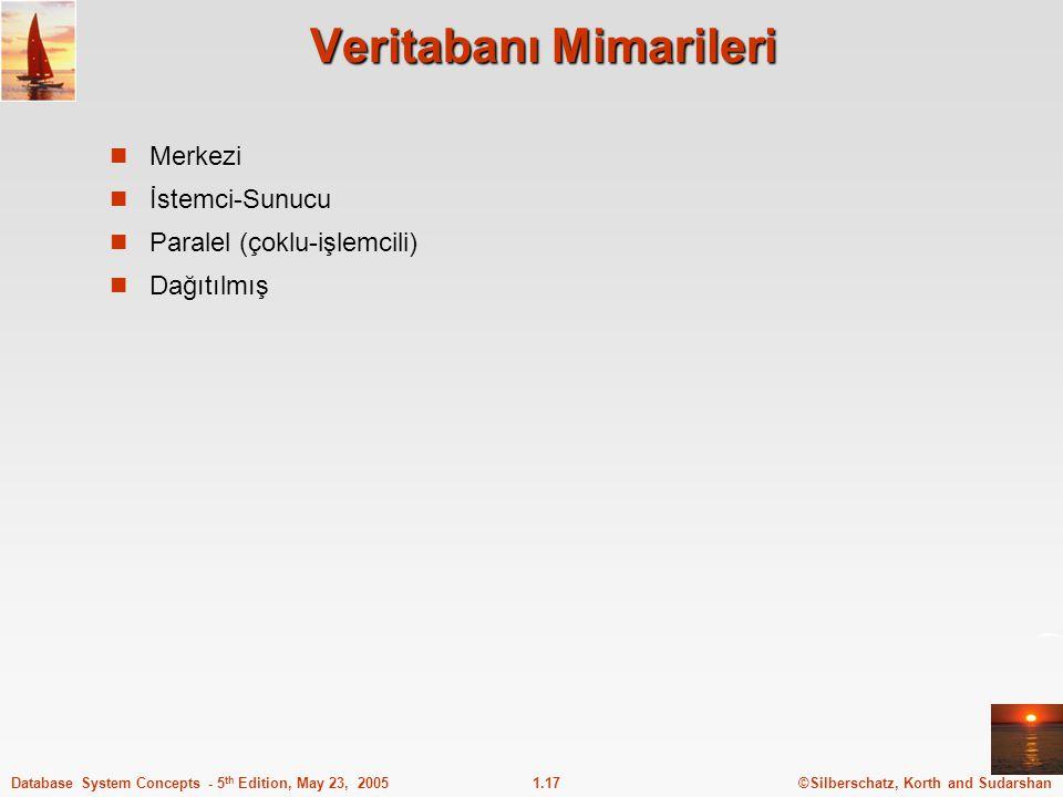 ©Silberschatz, Korth and Sudarshan1.17Database System Concepts - 5 th Edition, May 23, 2005 Veritabanı Mimarileri Merkezi İstemci-Sunucu Paralel (çokl