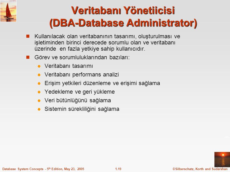 ©Silberschatz, Korth and Sudarshan1.19Database System Concepts - 5 th Edition, May 23, 2005 Veritabanı Yönetiicisi (DBA-Database Administrator) Kullan