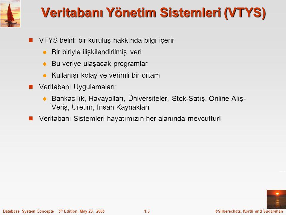 ©Silberschatz, Korth and Sudarshan1.3Database System Concepts - 5 th Edition, May 23, 2005 Veritabanı Yönetim Sistemleri (VTYS) VTYS belirli bir kurul