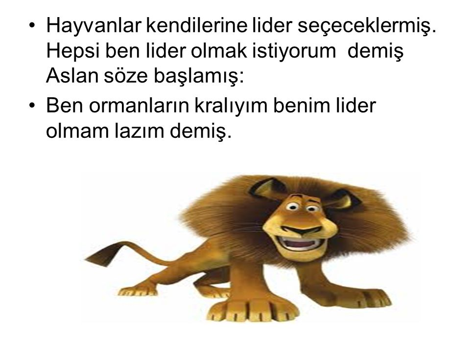 Hayvanlar kendilerine lider seçeceklermiş. Hepsi ben lider olmak istiyorum demiş Aslan söze başlamış: Ben ormanların kralıyım benim lider olmam lazım