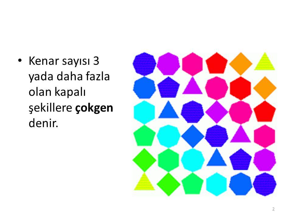 Kenar sayısı 3 yada daha fazla olan kapalı şekillere çokgen denir. 2