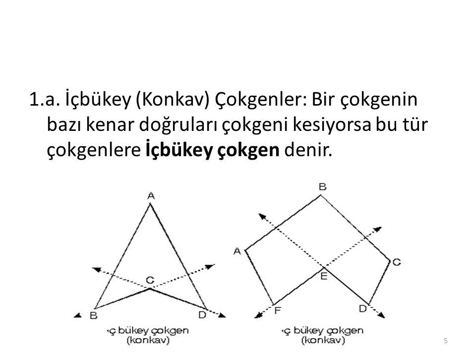 1.a. İçbükey (Konkav) Çokgenler: Bir çokgenin bazı kenar doğruları çokgeni kesiyorsa bu tür çokgenlere İçbükey çokgen denir. 5