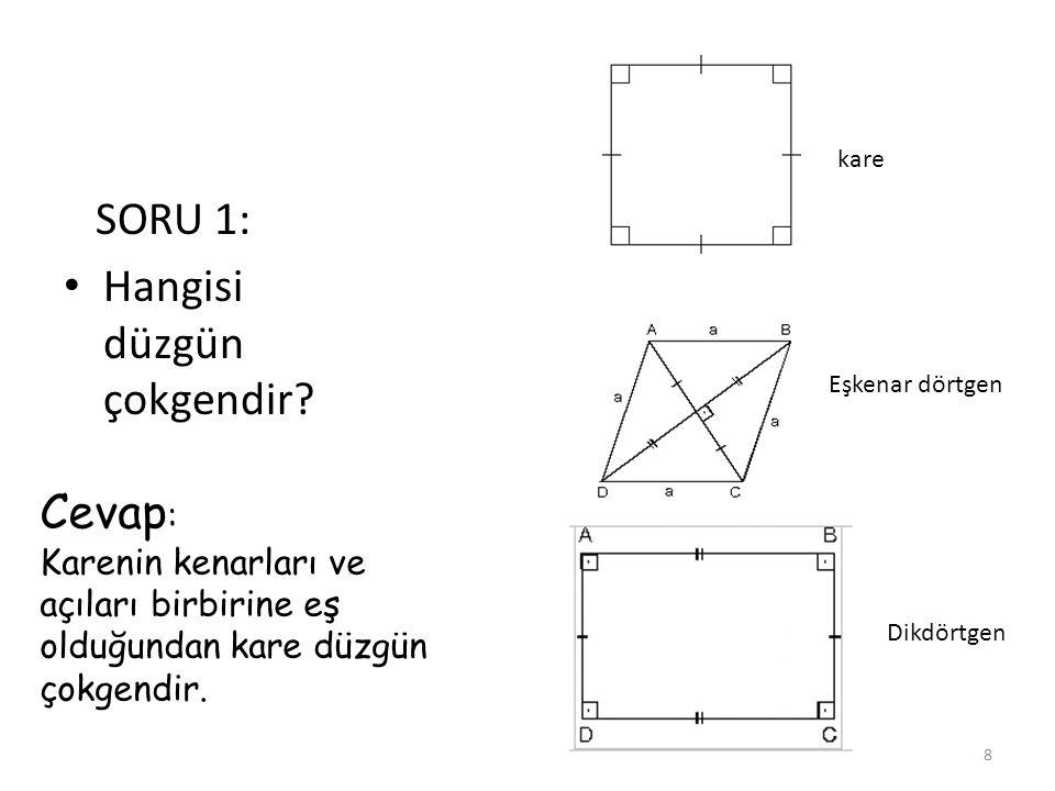 SORU 1: Hangisi düzgün çokgendir? kare Eşkenar dörtgen Dikdörtgen Cevap : Karenin kenarları ve açıları birbirine eş olduğundan kare düzgün çokgendir.