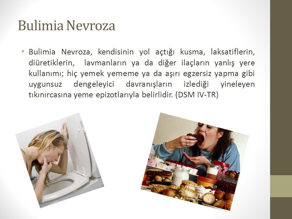Bulimia Nevroza Bulimia Nevroza, kendisinin yol açtığı kusma, laksatiflerin, diüretiklerin, lavmanların ya da diğer ilaçların yanlış yere kullanımı; h