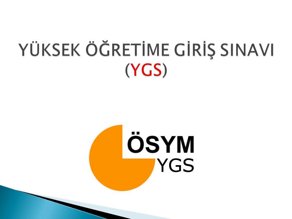 Yeni ÖSYS Sistemi 1. YGS ( Yüksek Öğretime Geçiş Sınavı ) 2. LYS ( Lisans Yerleştirme Sınavı )