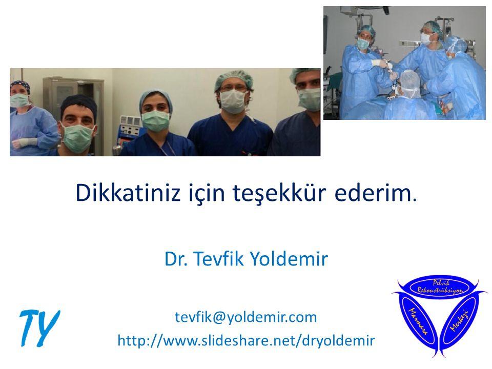 Dikkatiniz için teşekkür ederim. Dr. Tevfik Yoldemir tevfik@yoldemir.com http://www.slideshare.net/dryoldemir