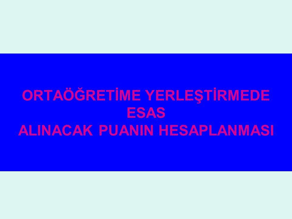 ORTAÖĞRETİME YERLEŞTİRMEDE ESAS ALINACAK PUANIN HESAPLANMASI