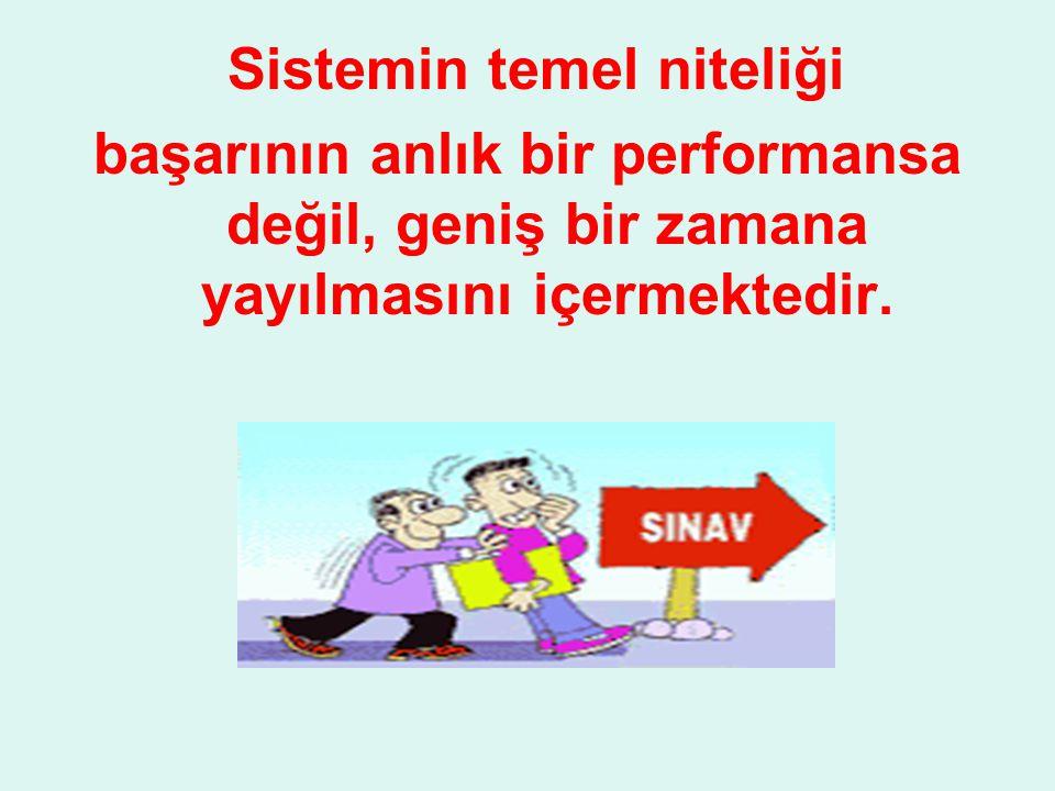 Sistemin temel niteliği başarının anlık bir performansa değil, geniş bir zamana yayılmasını içermektedir.