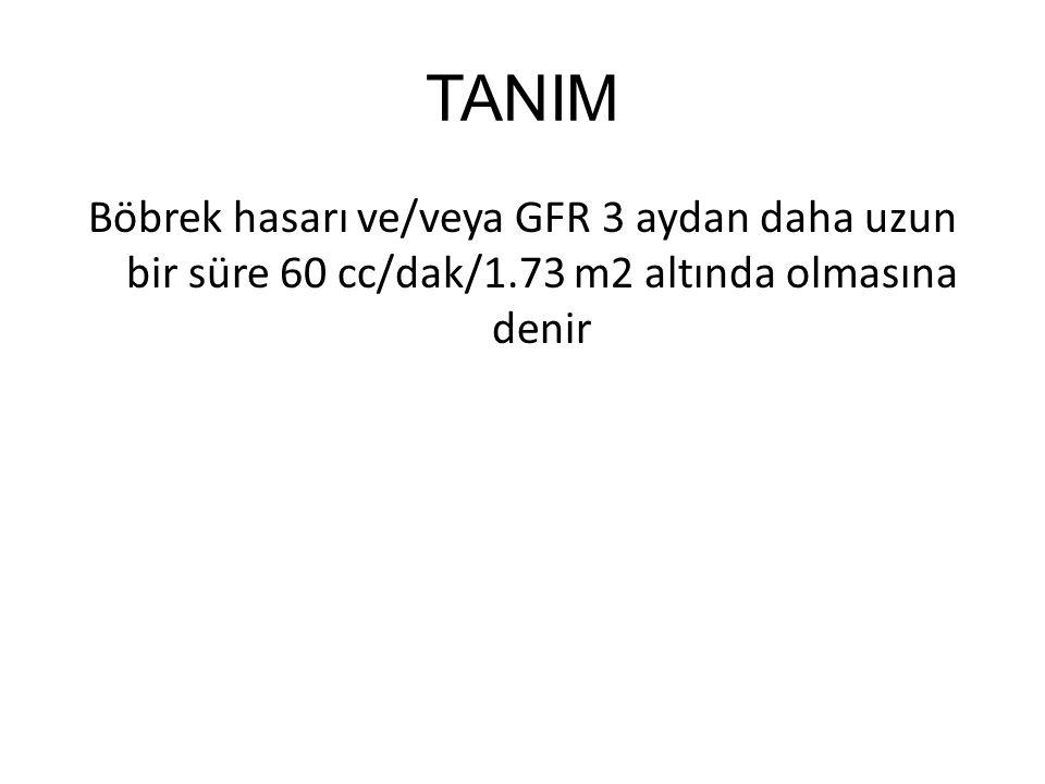 TANIM Böbrek hasarı ve/veya GFR 3 aydan daha uzun bir süre 60 cc/dak/1.73 m2 altında olmasına denir