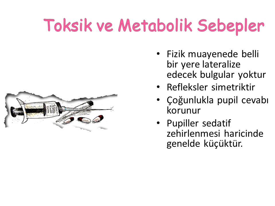 Toksik ve metabolik sebepler Beynin hemisferik ya da supratentorial lezyonları Posterior fossa ya da infratentorial lezyonları Vertebro-baziller sistem oklüzyonu Psödokoma ya da psikojenik koma