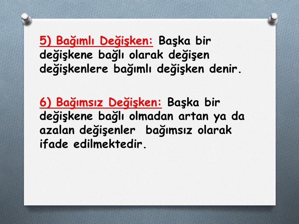 5) Bağımlı Değişken: Başka bir değişkene bağlı olarak değişen değişkenlere bağımlı değişken denir. 6) Bağımsız Değişken: Başka bir değişkene bağlı olm
