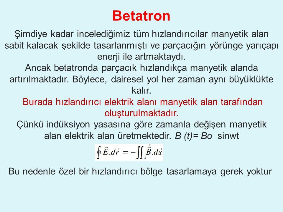 Betatron Şimdiye kadar incelediğimiz tüm hızlandırıcılar manyetik alan sabit kalacak şekilde tasarlanmıştı ve parçacığın yörünge yarıçapı enerji ile artmaktaydı.