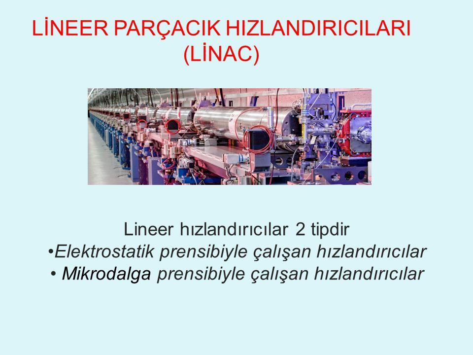 LİNEER PARÇACIK HIZLANDIRICILARI (LİNAC) Lineer hızlandırıcılar 2 tipdir Elektrostatik prensibiyle çalışan hızlandırıcılar Mikrodalga prensibiyle çalışan hızlandırıcılar